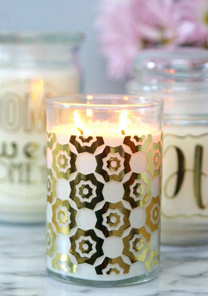 Gold embellished candles