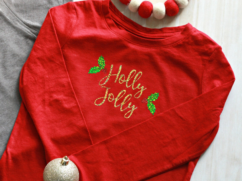 Holly Jolly T-shirt made with Cricut machines and materials