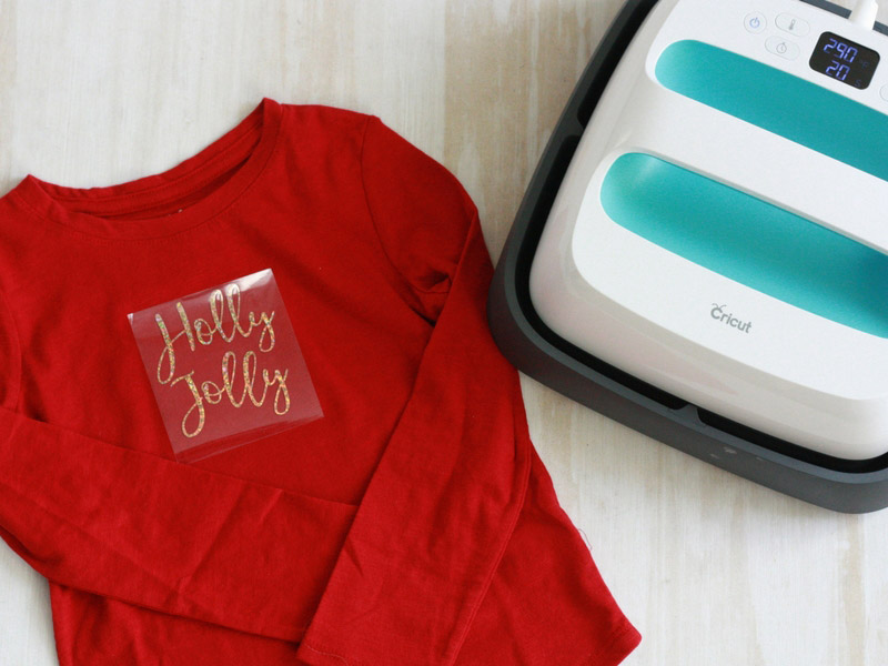 Holly Jolly T-shirt with Cricut EasyPress