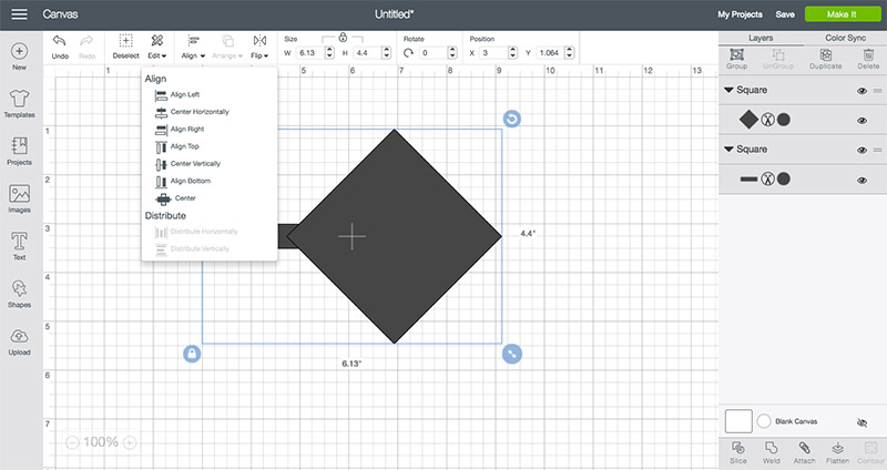Start by adding squares to Design Space