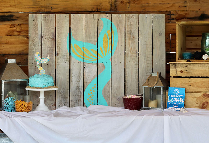 Mermaid tail pallet sign for a mermaid party