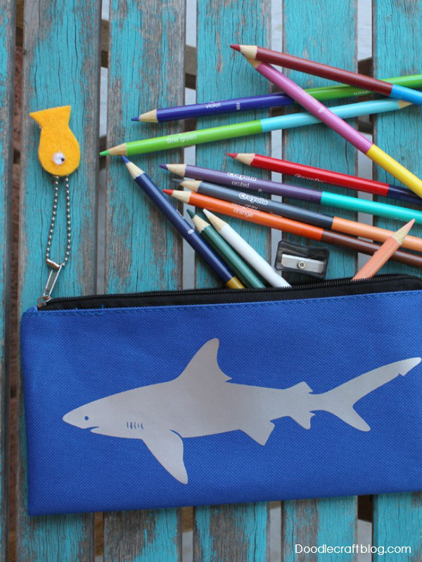 Add a fun shark to a pencil case for your favorite student