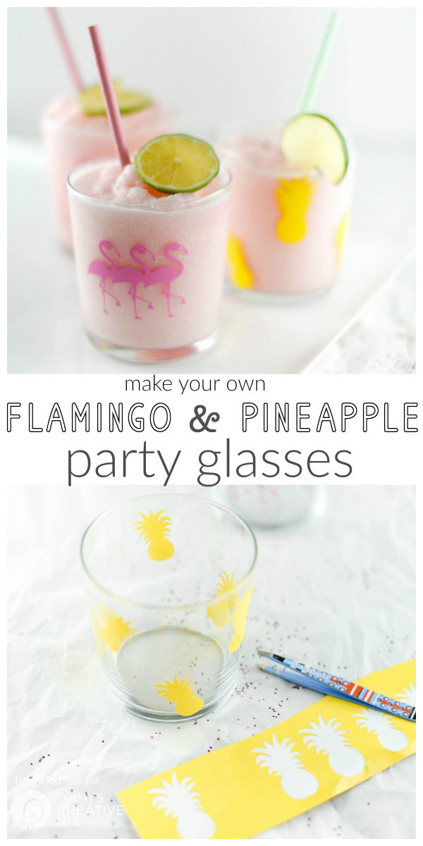 Flamingo and pineapple glasses are perfect for your pool party.