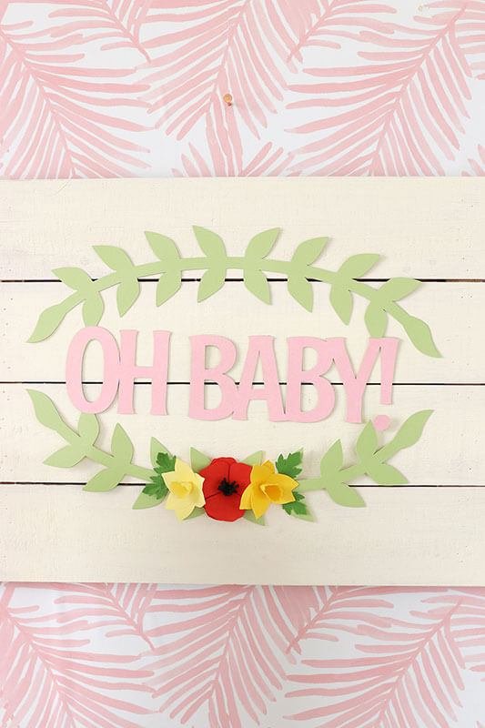 Completed Oh baby shower sign