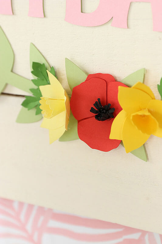 Close up of paper flowers made with a Cricut rose machine