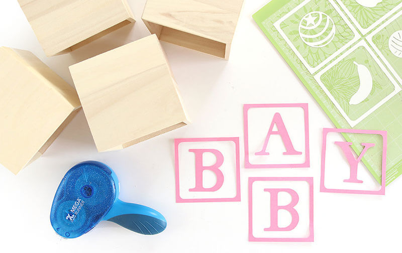 A simple baby blocks craft for baby shower decor