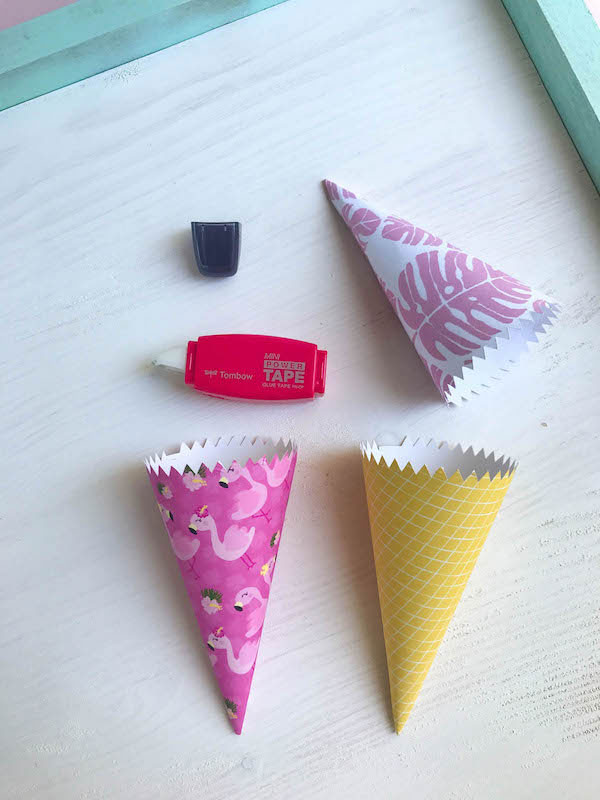 Glue your cone wrapper when formed