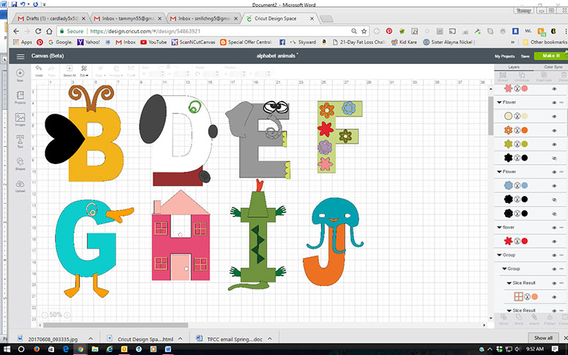 Preschool Alphabet created in Cricut Design Space