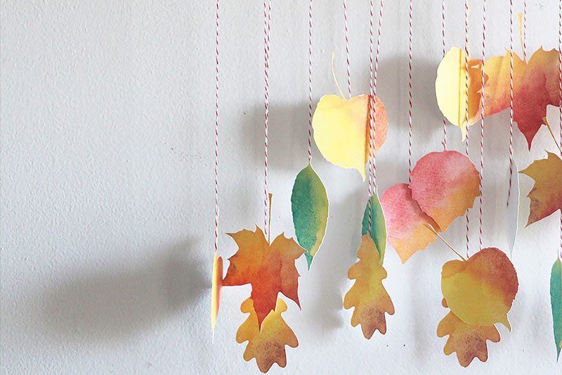 Add these pretty leaves to the wall or above the table.