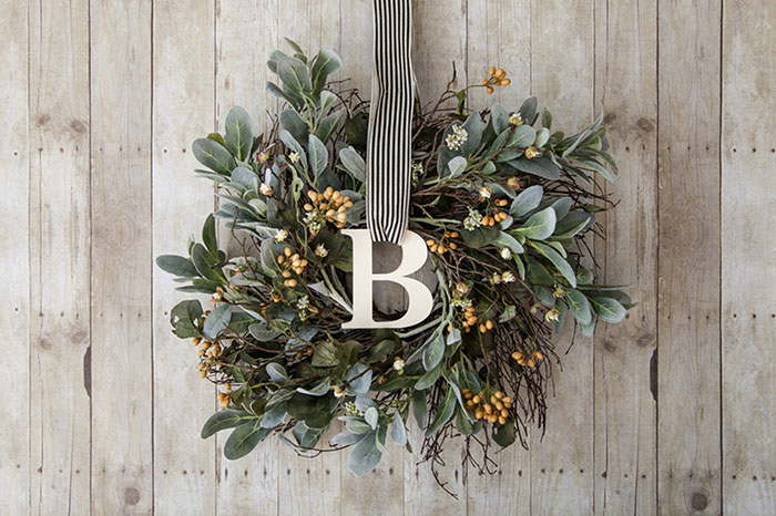 Make your wreath simple and elegant by adding your monogram to it.
