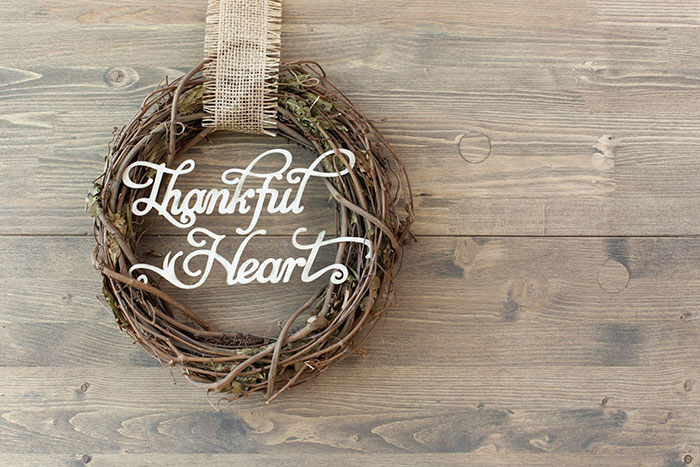 Show your gratitude with the Thankful Heart Wreath