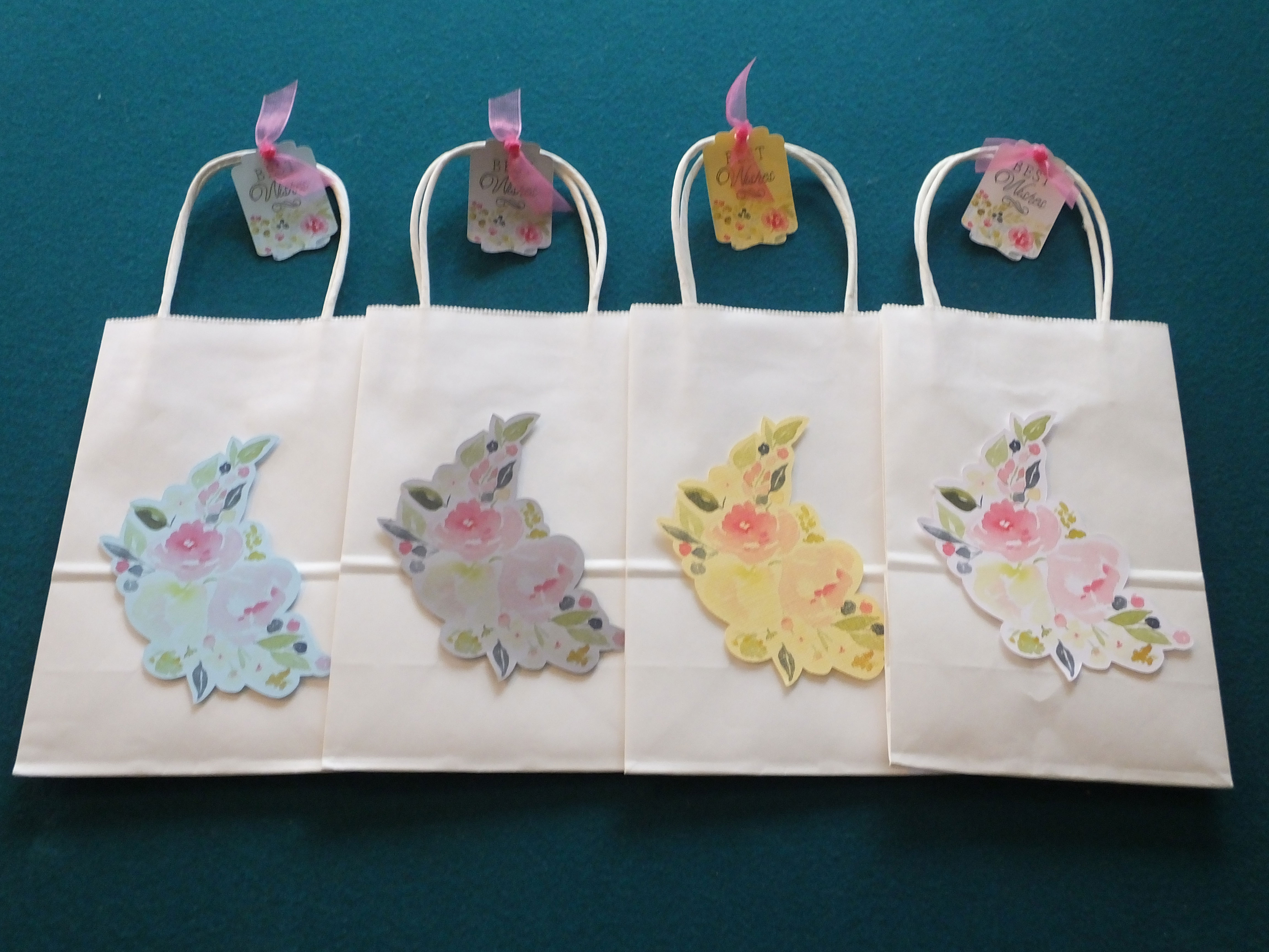 Best Wishes Gift Bags in Different Colored Papers