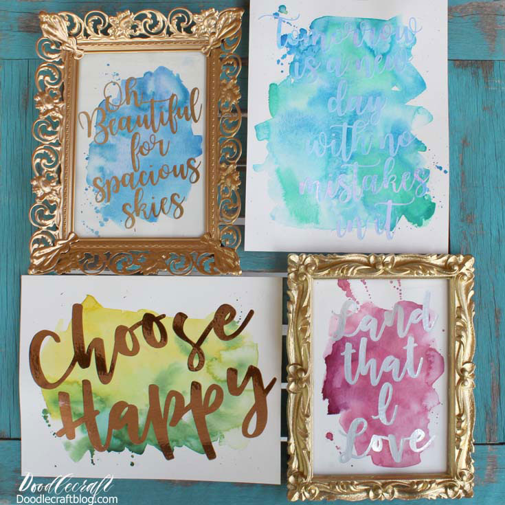 Combine watercolors with adhesive foil for wall decor
