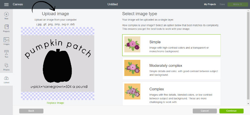 Upload your image to Design Space