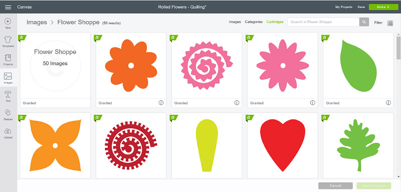 Choosing images in Design Space for rolled flowers