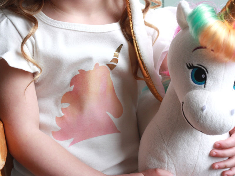 Unicorn shirt with patterned iron-on