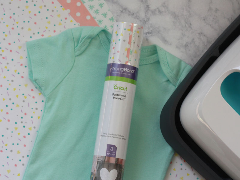 Supplies for the patterned iron-on onesie