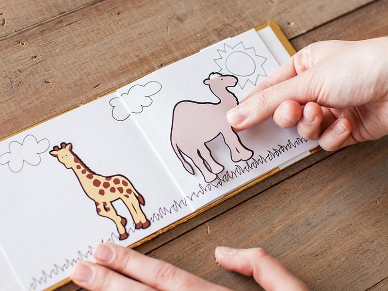 Make a safari animals book with printable sticker paper