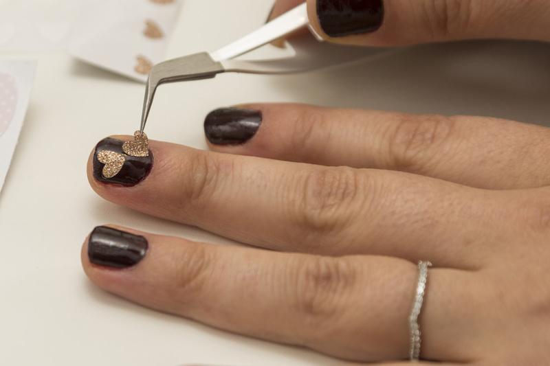 Glitter heart nail art