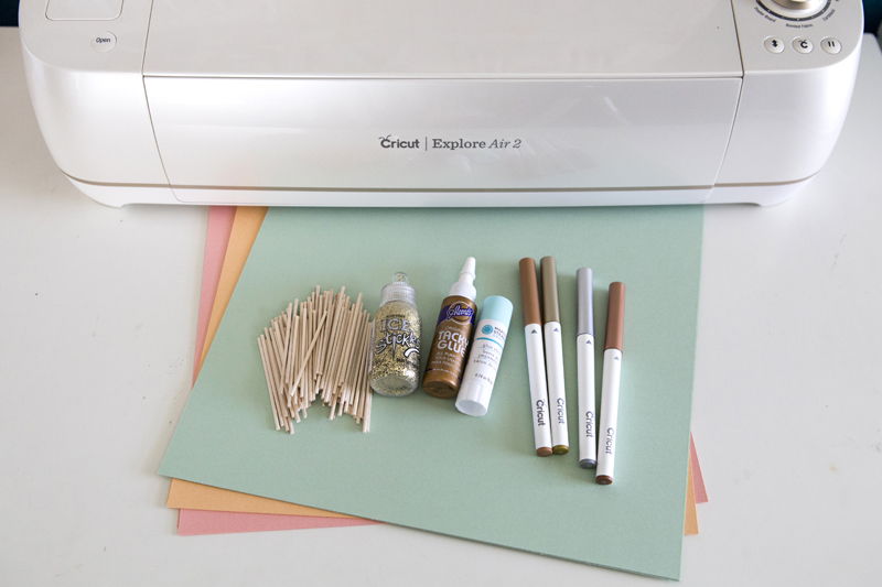 Supplies for DIY Cupcake Wrappers + Cookie Flags