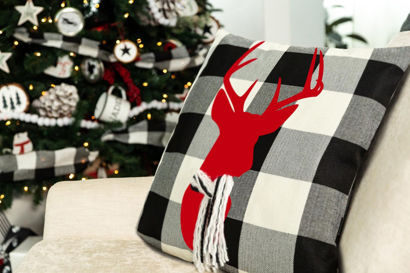 diy farmhouse decor stag deer pillow for the holidays