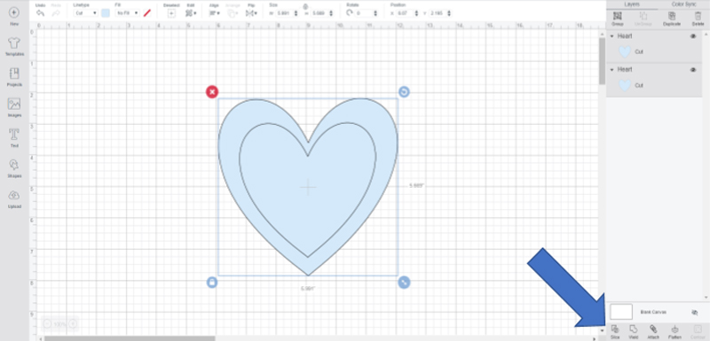 Using the slice tool in Cricut Design Space