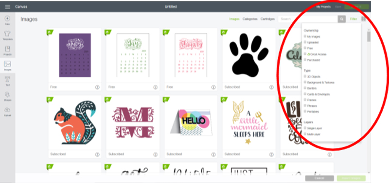 Finding Images in Cricut Design Space