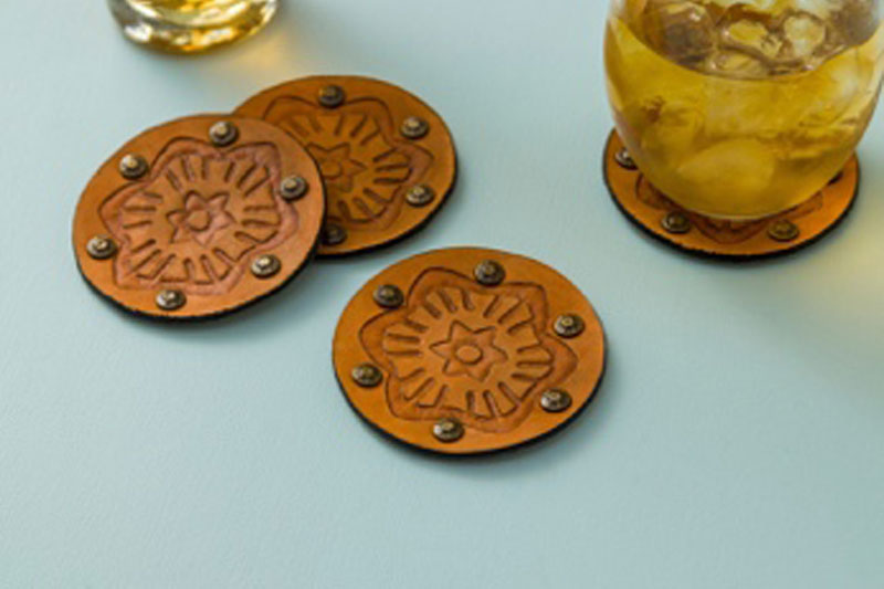 Debossed Cricut coasters with floral design