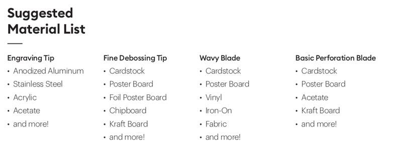 Materials for New Cricut Maker Tools