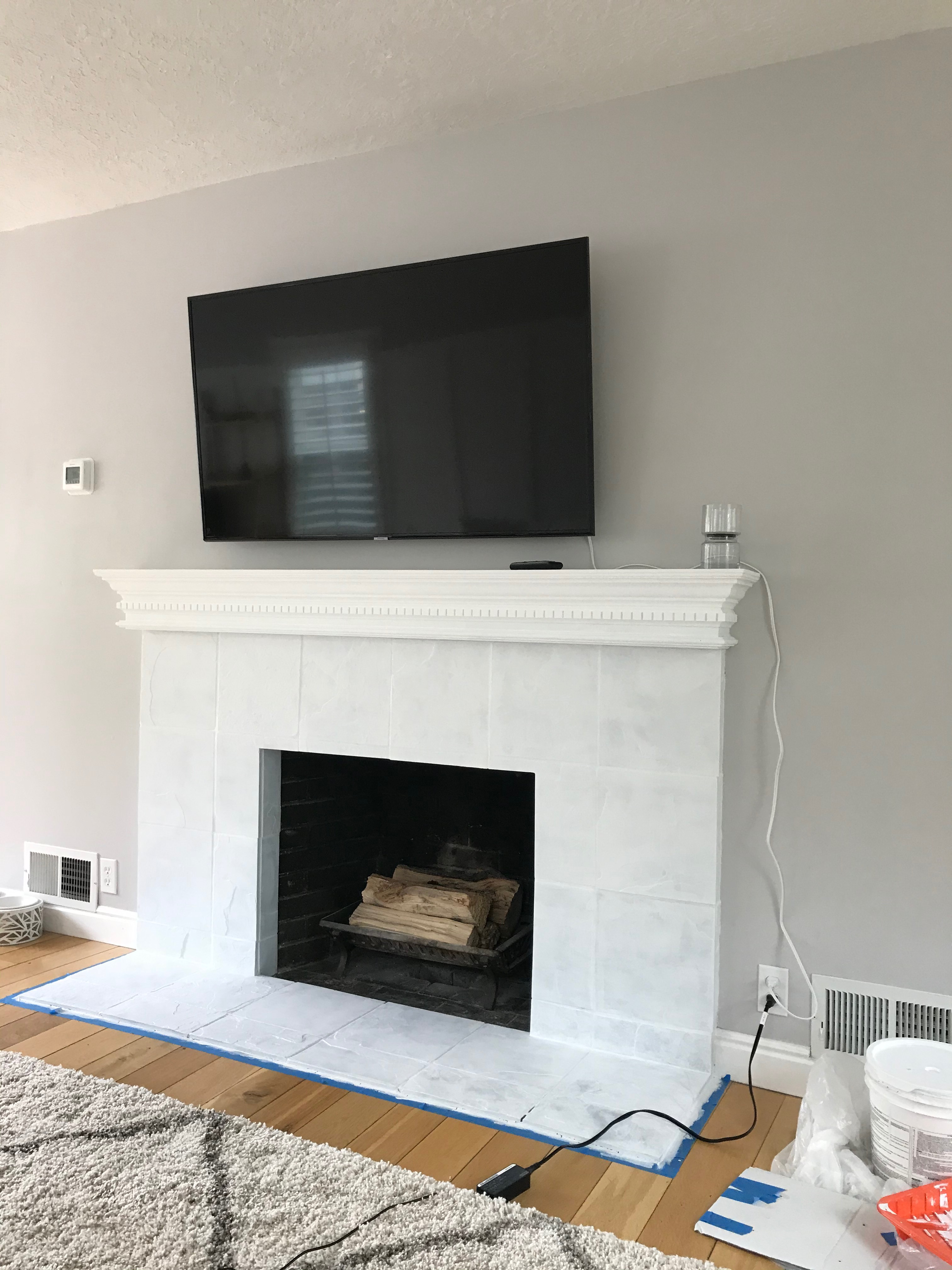 Painting a custom stencil for your fireplace mantel