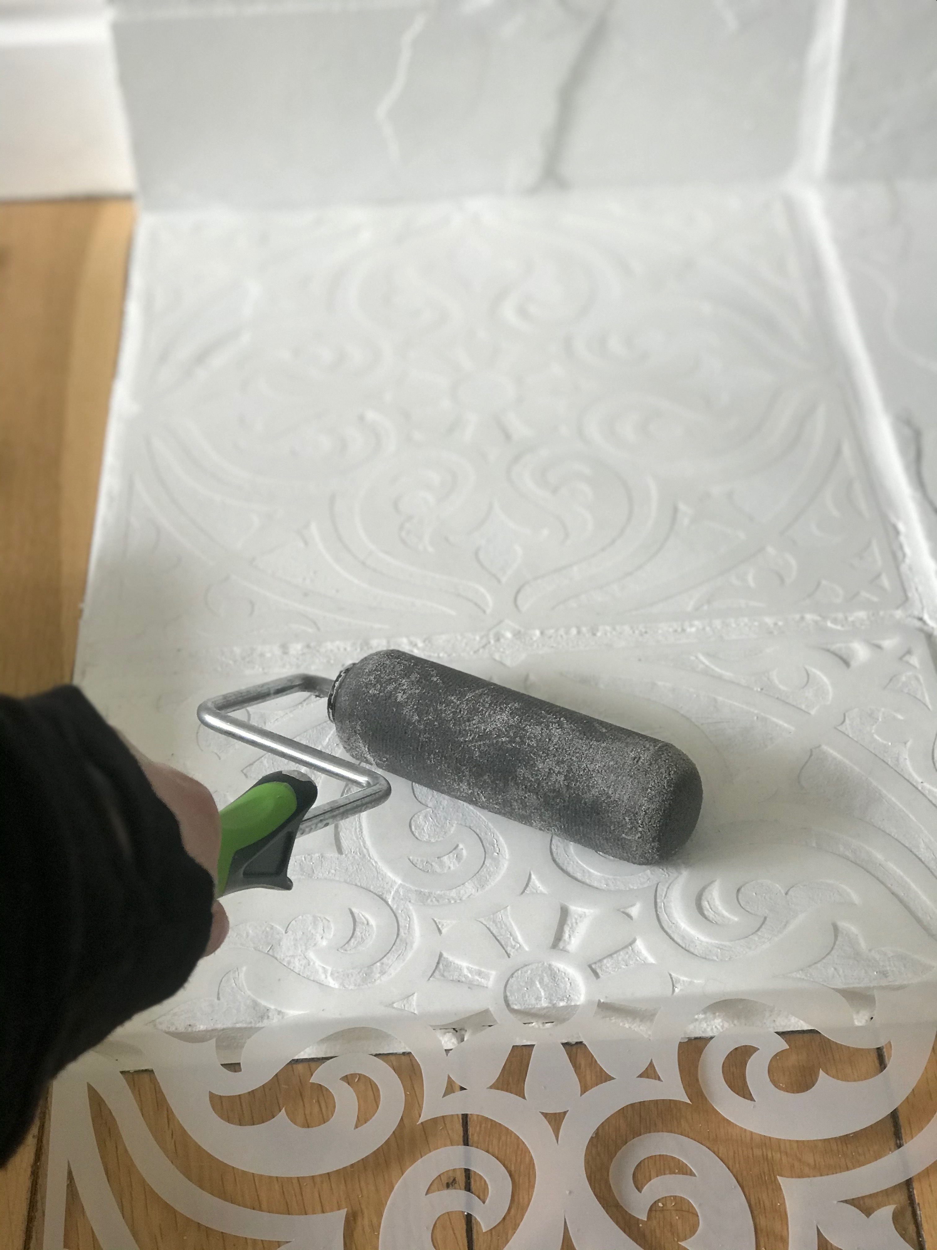 Step 2 to creating a custom DIY stencil for your fireplace mantel