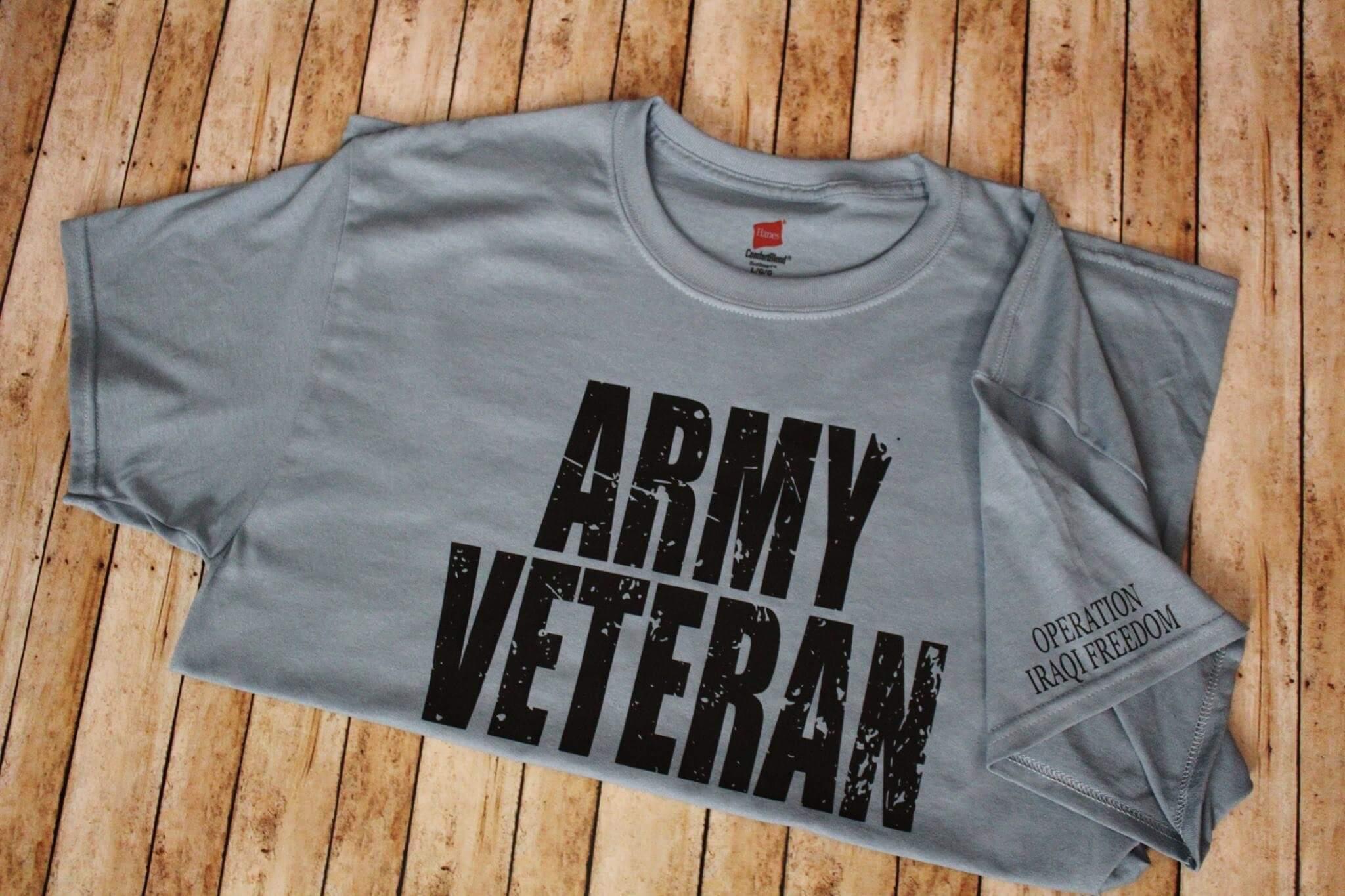 Army Veteran T-shirt made by James and Kayla Davis with a Cricut machine