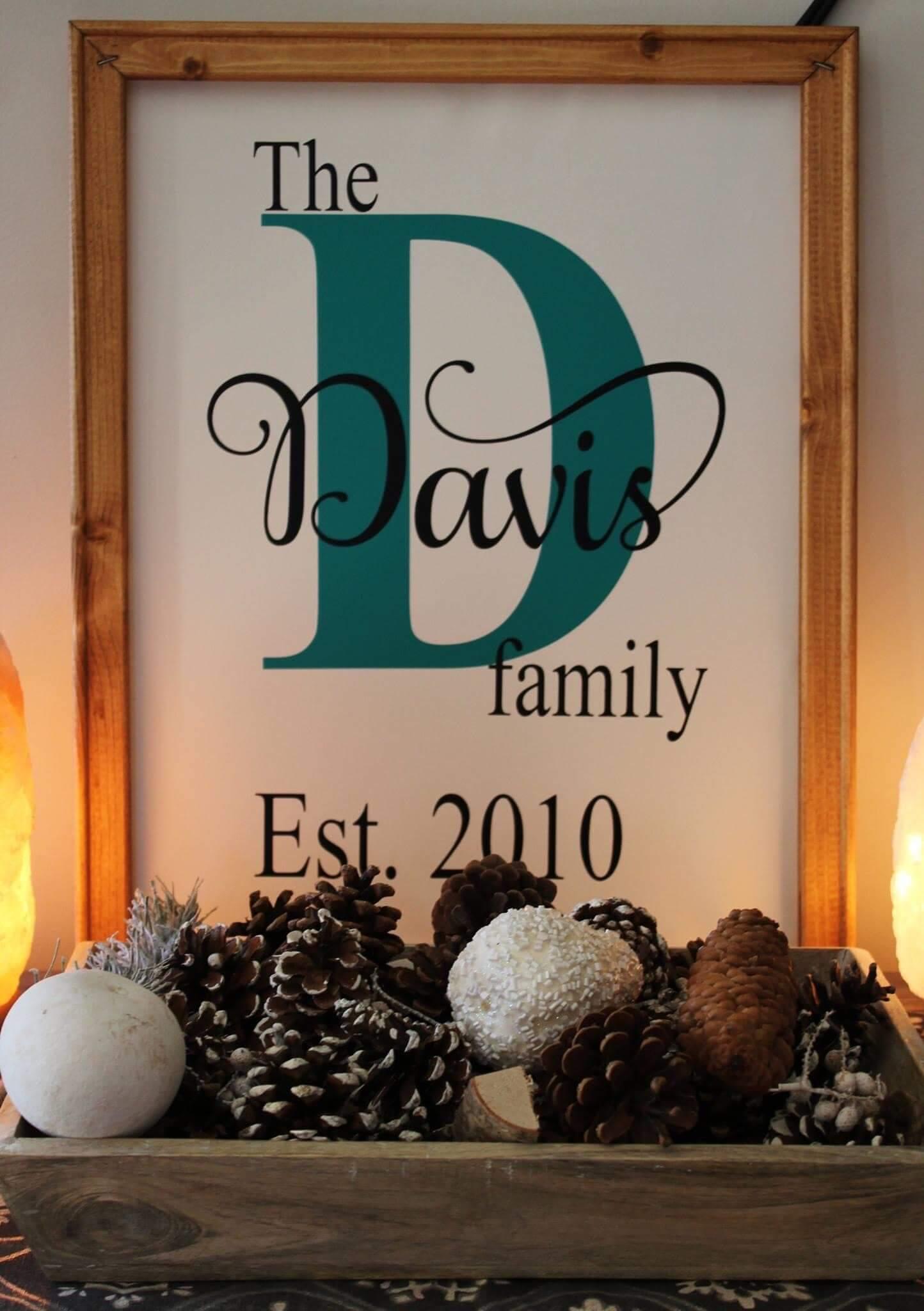Davis Family Framed Sign
