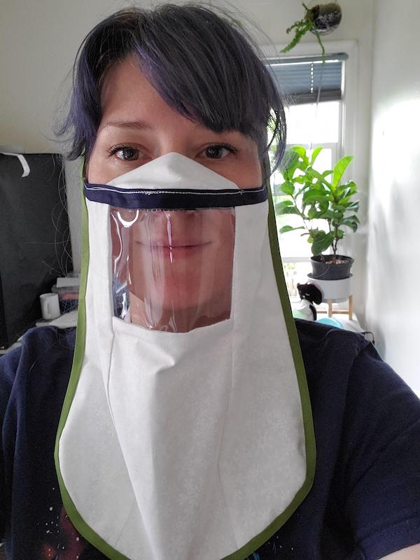 One of many Cricut face mask with window prototypes