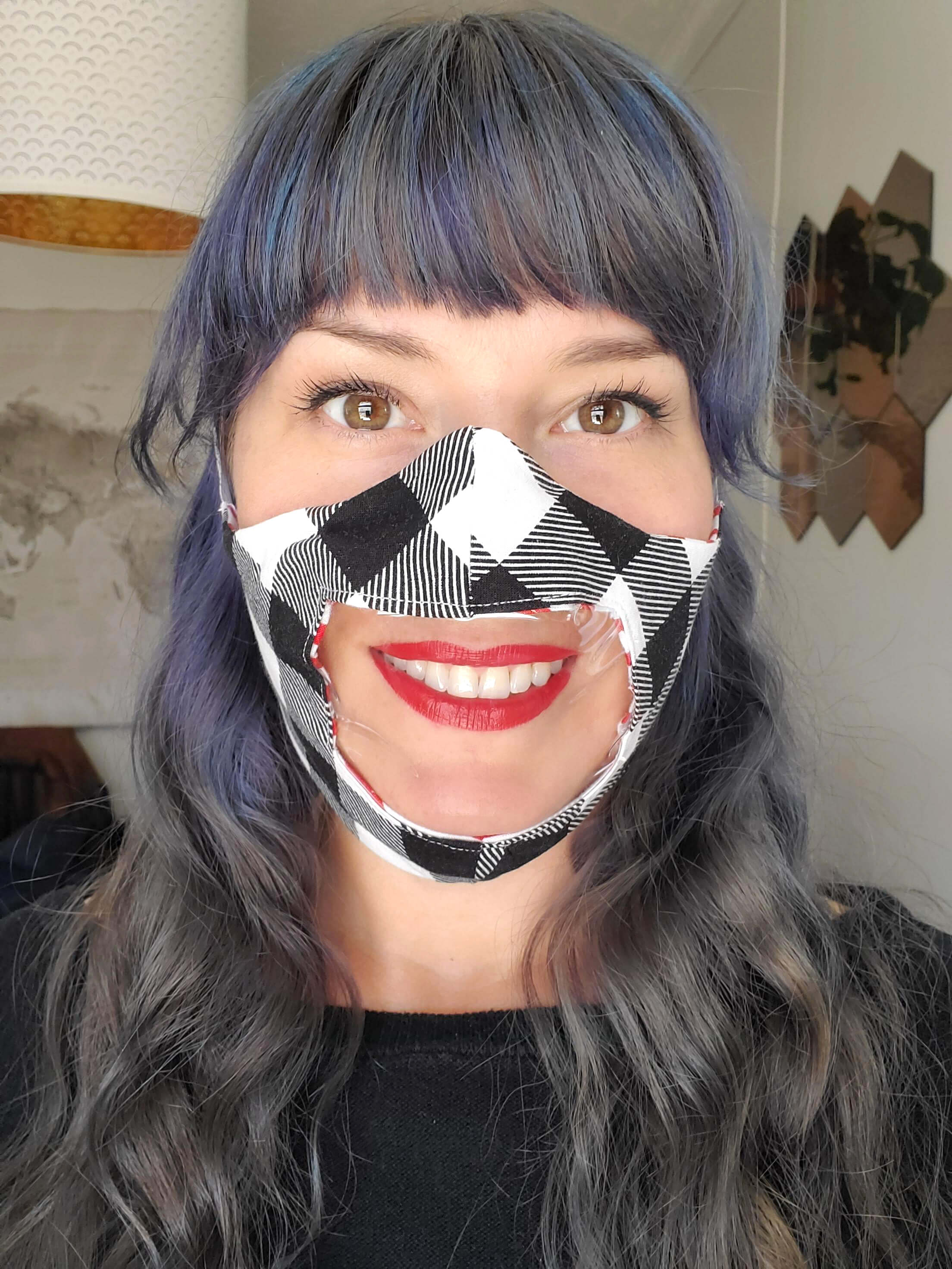 Cricut face mask with window pattern