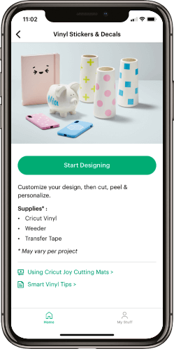 Cricut Joy app vinyl stickers and decals feature