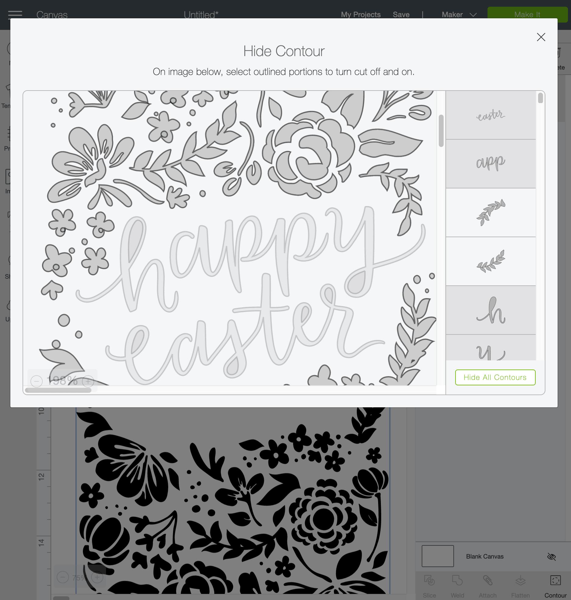 Screen shot in Cricut Design Space showing contour funtionality.