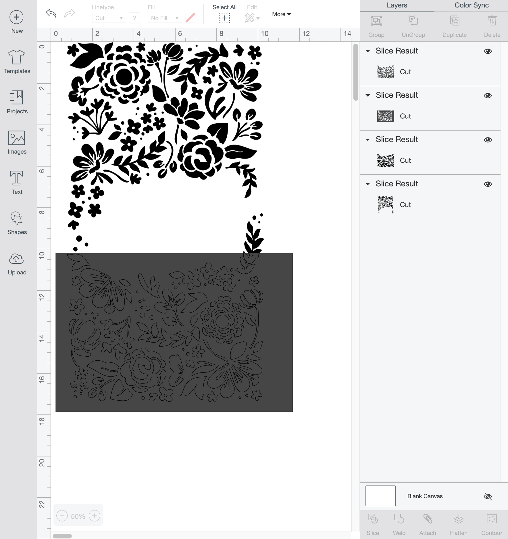 Screen shot of Cricut Design Space showing slice functionality.