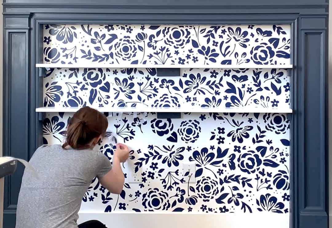 DIY Floral Wallpaper with Cricut Removable Vinyl