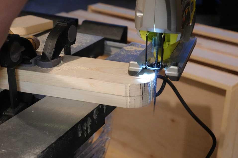 jigsawing cornhole board legs