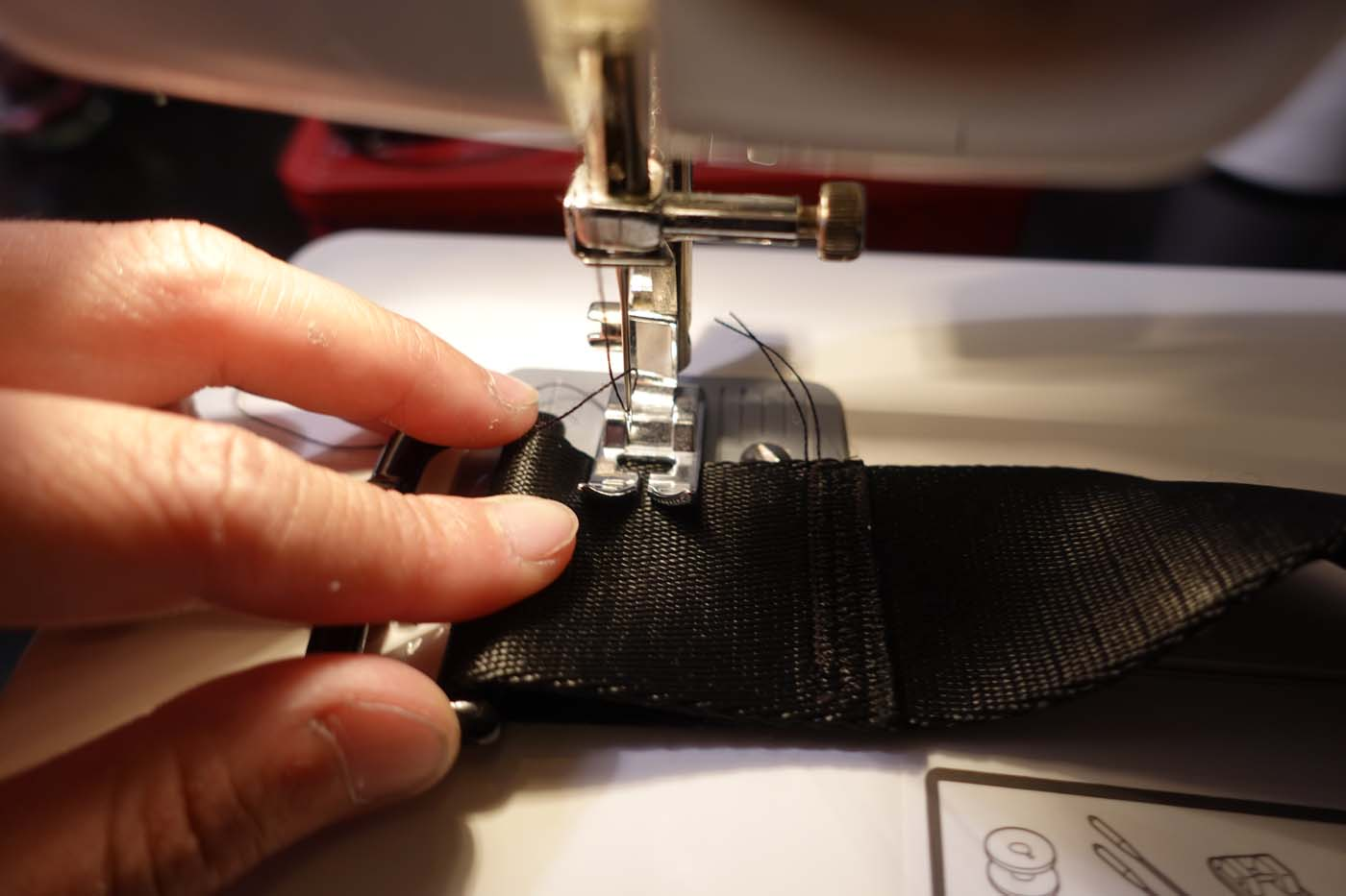 sewing a tri-glide with swivel snaps to make a strap