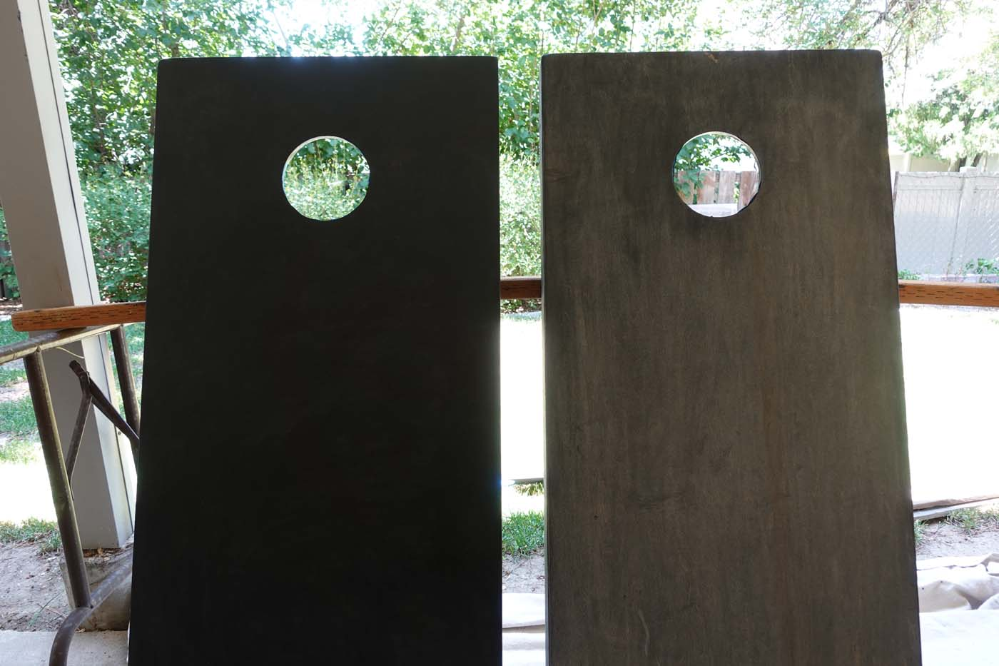 Comparison of too much stain vs. stain wiped off so it dries