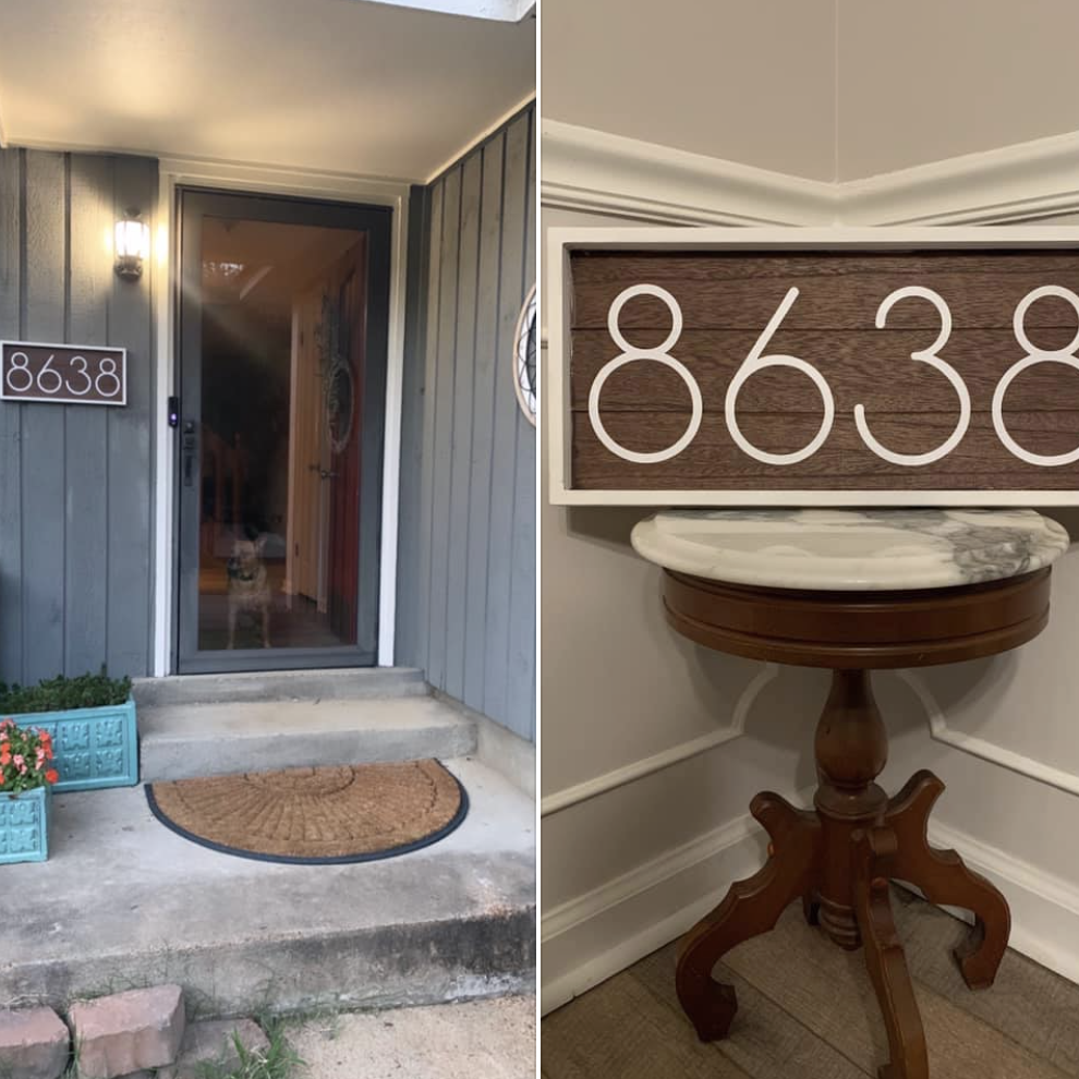 Personalized door numbers using Cricut vinyl