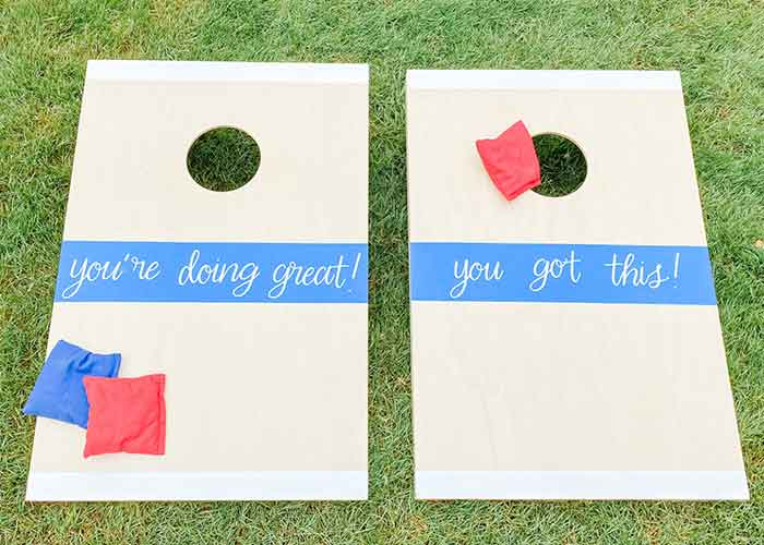 DIY cornhole decoration with vinyl