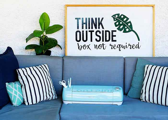 Think Outside sign with Cricut Explore