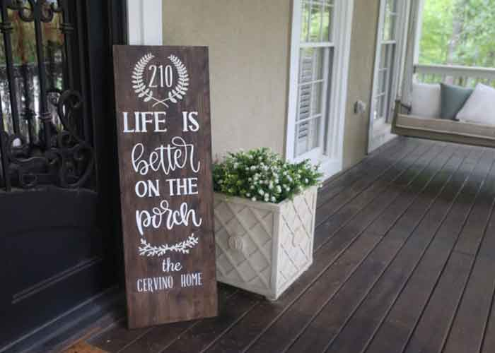 Personalized porch sign