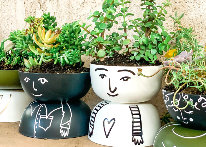 DIY quirky people planters with Cricut Joy