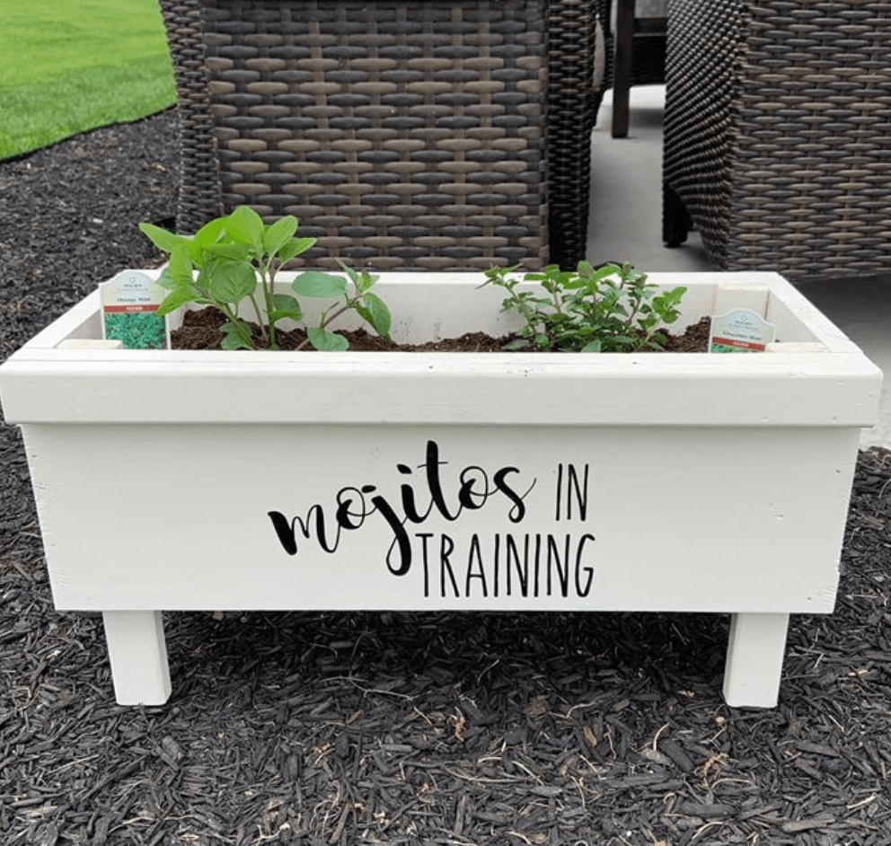 Planter with vinyl decal