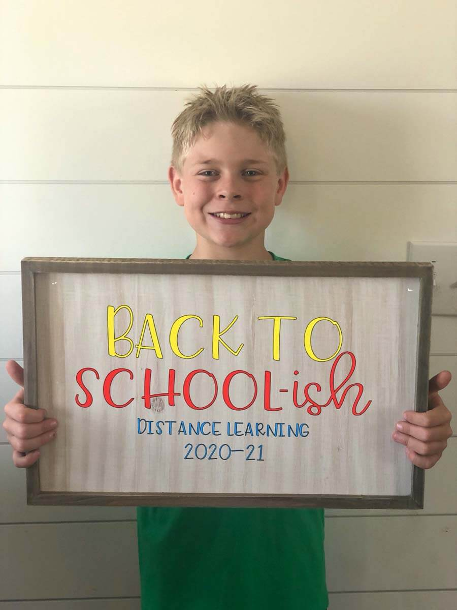 Back to School-ish Distance Learning sign for back-to-school from Cricut Design Space