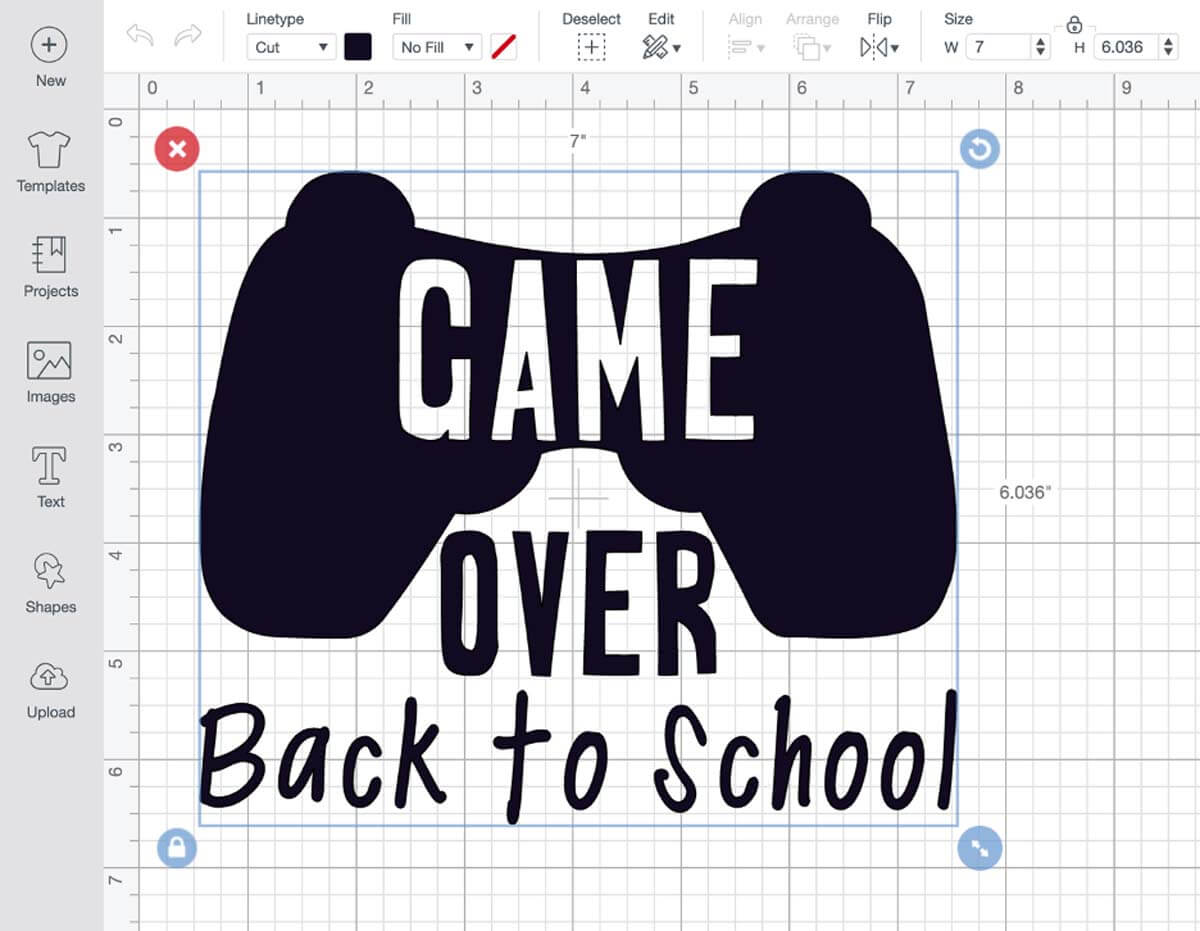 Cricut Design Space Back-to-School Game Over T-shirt